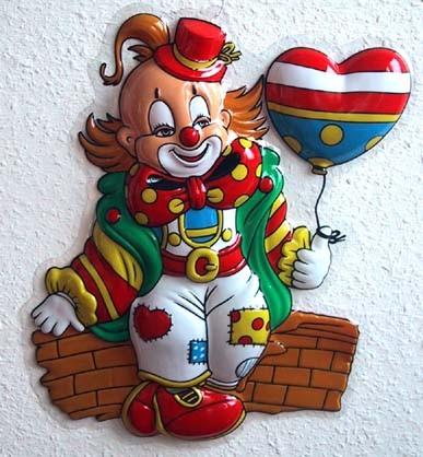 wanddeko karneval clown auf einer mauer sitzend ebay. Black Bedroom Furniture Sets. Home Design Ideas