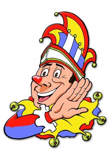 wanddeko karneval clown mit prinzenkappe 45x78 ebay. Black Bedroom Furniture Sets. Home Design Ideas